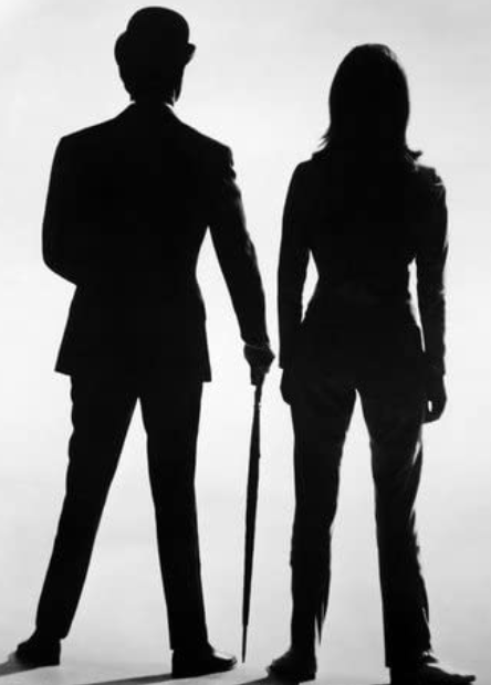 death in silhouette, patrick macnee and diana rigg poster, emma peel, sex and social roles, subjects and objects